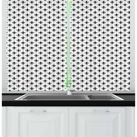 Fleur De Lis Curtains 2 Panels Set, French Culture Inspired Motifs Dotted Lines Medieval Design Floral Pattern, Window Drapes for Living Room Bedroom, 55W X 39L Inches, Black White, by (Fleur De Lis Motif)