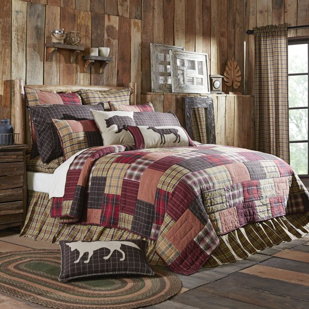 crimson red rustic bedding laramie cotton pre washed patchwork chambray rectangle california king quilt