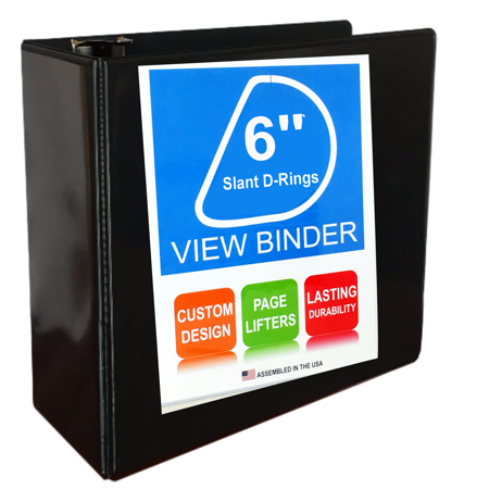 View Pocket (6 Inch Ring Binder With Slant D-Rings, Black, Clear View, Pockets)