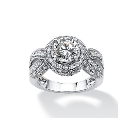 2.85 TCW Round Cubic Zirconia Halo Crossover Ring in Platinum over Sterling Silver