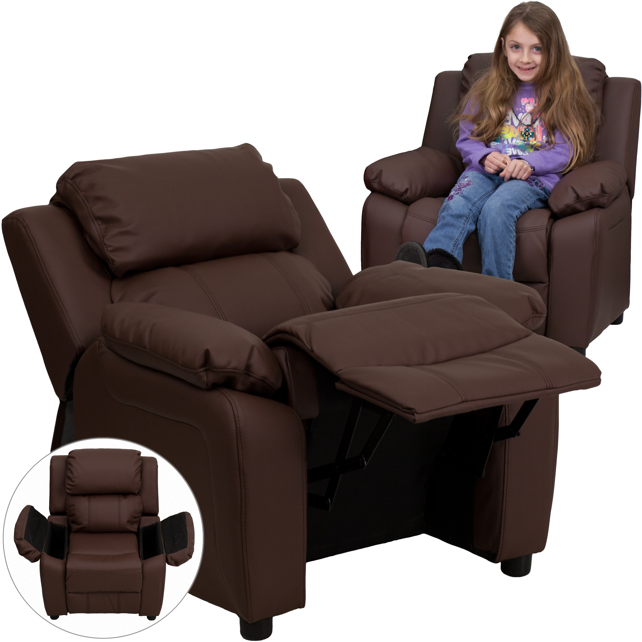 Deluxe Padded Contemporary Brown Leather Kids Recliner with Storage Arms  sc 1 st  Walmart & Deluxe Padded Contemporary Brown Leather Kids Recliner with ... islam-shia.org
