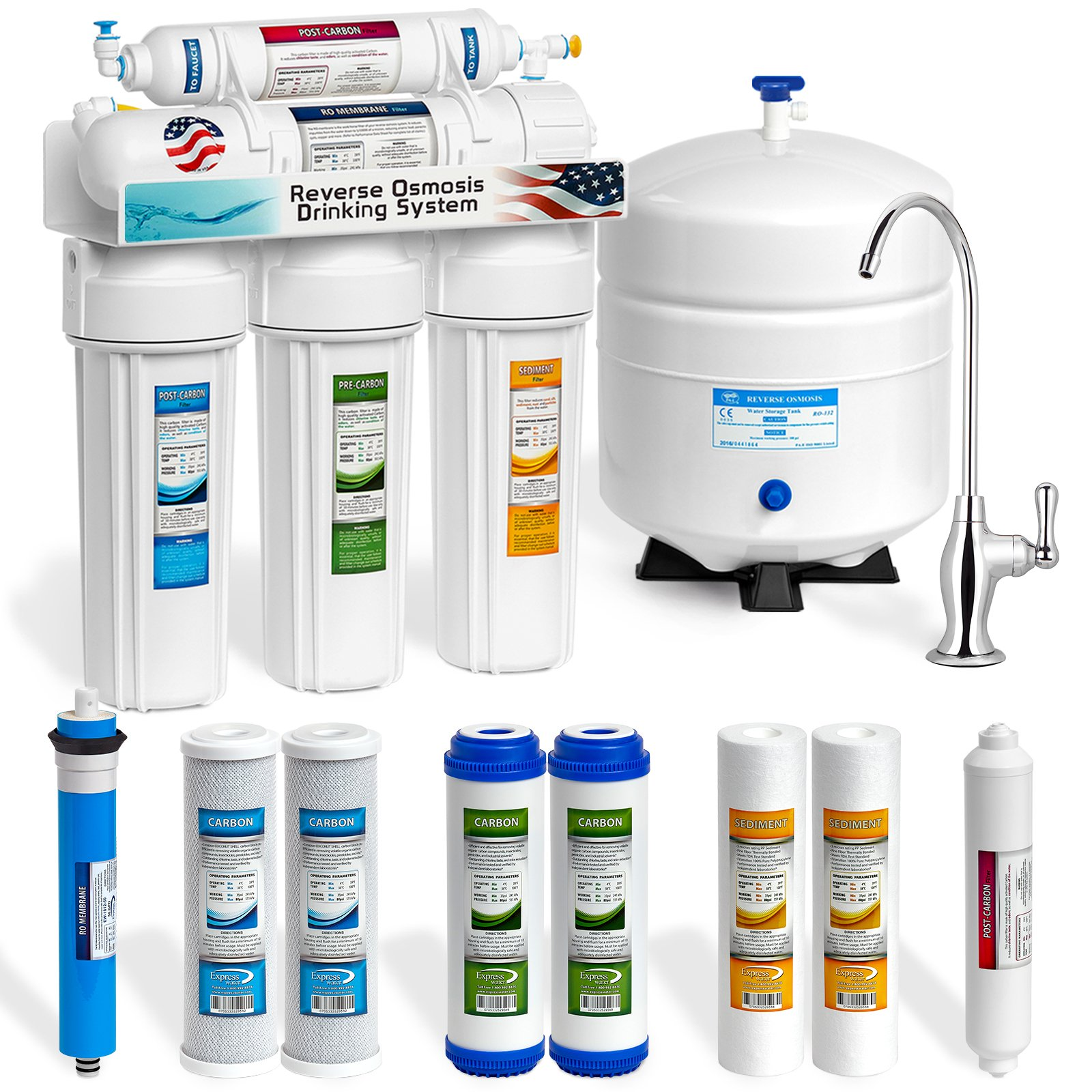 Express Water 5-Stage Undersink Water Filter System Reverse Osmosis Filtration +4 Extra Filter 50 GPD- RO5DX