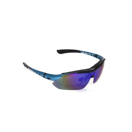Walleva WSG001-BL Ice Blue Polarized Sunglasses With TR90 Frame, Prescription Lenses Insert, Hat Clip And Removable (Ray Ban Prescription Lenses)