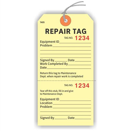 """REPAIR TAG - EQUIPMENT ID with Stub, Numbered 2 Places, Strung, 5.75"""" x 2.875"""", Manila Cardstock - Pack of 25 Tags"""