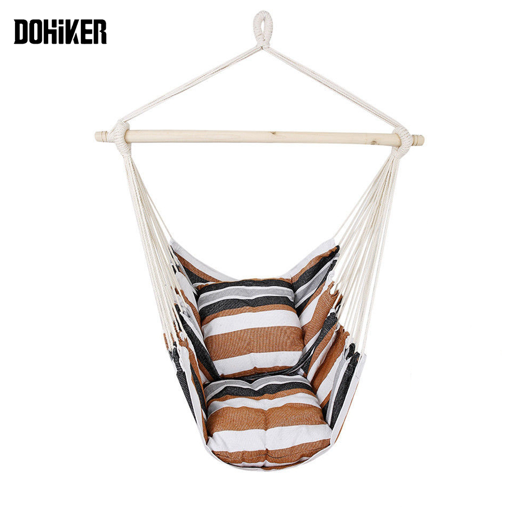 Dohiker Deluxe Hanging Rope Hammock Comfortable Swing Chair With 2 Cushions Optimal For Balcony Backyard Bedroom Porch Indoor & Outdoor Use