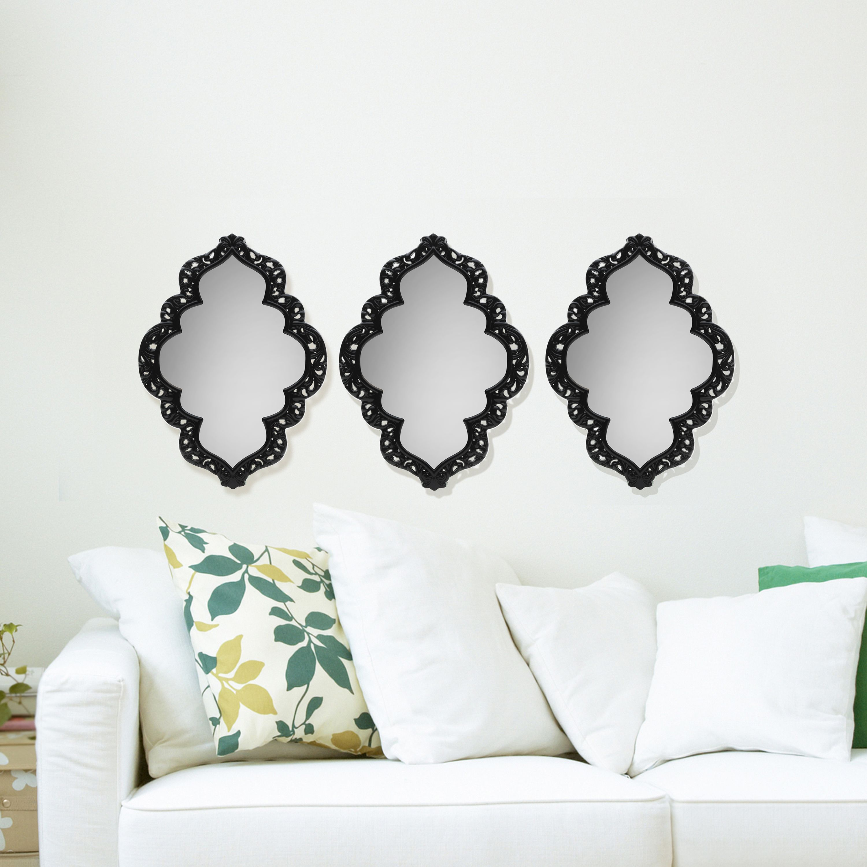Elements Set of 3 12 Inch Black Sweetheart Wall Mirrors