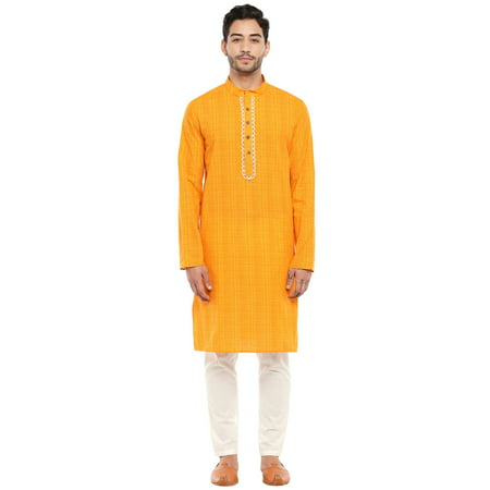 In-Sattva Men's Mandarin Collar Indian Kurta Tunic with Hand-Embroidered Placket Designer Mens Kurta