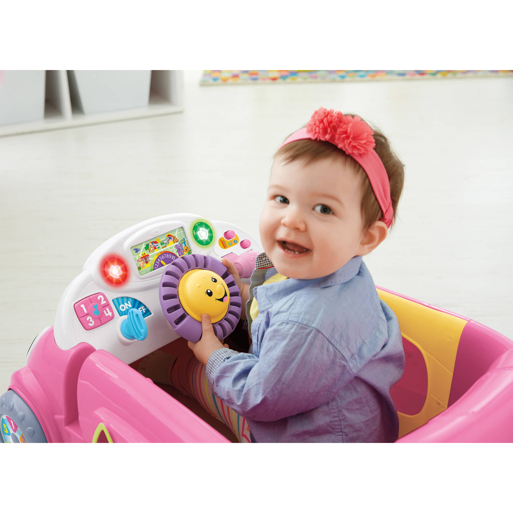 Fisher Price Laugh & Learn Smart Stages Crawl Around Car Pink
