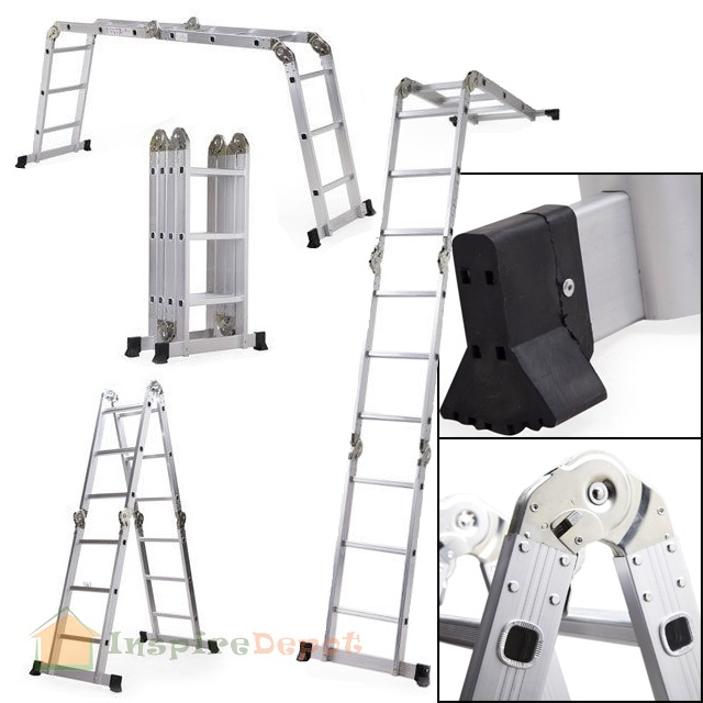 12.5' Folding Step Ladder Multi Purpose Aluminum Scaffold Extendable