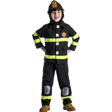 Award Winning Deluxe Fire Fighter Dress Up Costume Set and Helmet- Toddler T4