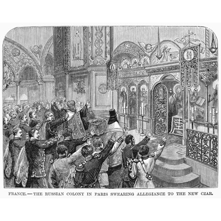 France Russian Colony Nthe Russian Colony In Paris Swearing Allegiance To The New Czar Alexander Iii After The Assassination Of Czar Alexander Ii In 1881 Contemporary American Wood Engraving Rolled Ca