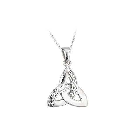 Celtic Weave & Trinity Knot Necklace Silver - - Trinity Ring Necklace