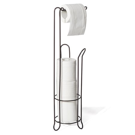 Toilet Paper Holder Stand with Reserve Toilet Paper Storage & Toilet Paper Dispenser. Free Standing Toilet Paper Holder, Bathroom Toilet Roll Holder for Toilet Tissue Chrome Finish - image 9 de 9