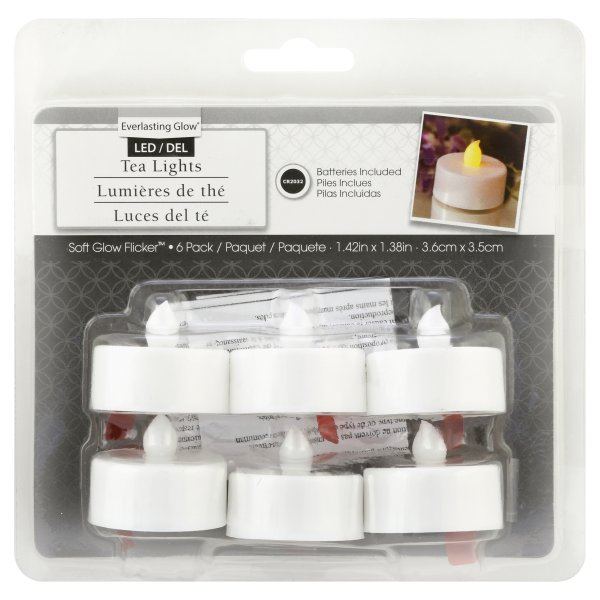 Gerson, Everlasting Glow Soft Glow Flicker LED Tealights, 6 pack