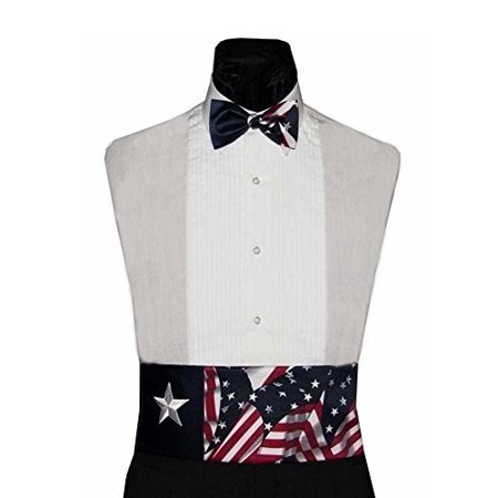 Navy Star and American Flags Bow Tie and Cummerbund Set