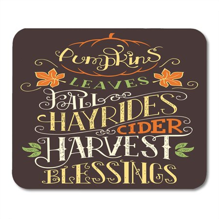SIDONKU Autumn Pumpkins Leaves Fall Hay Rides Cider Harvest Blessings Hand Lettering Sign Holiday Quote Mousepad Mouse Pad Mouse Mat 9x10 inch