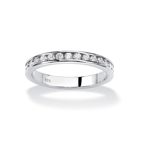 Round Birthstone Stackable Eternity Band in Sterling Silver - April- Simulated (Eternity Silver Jewelry Set)