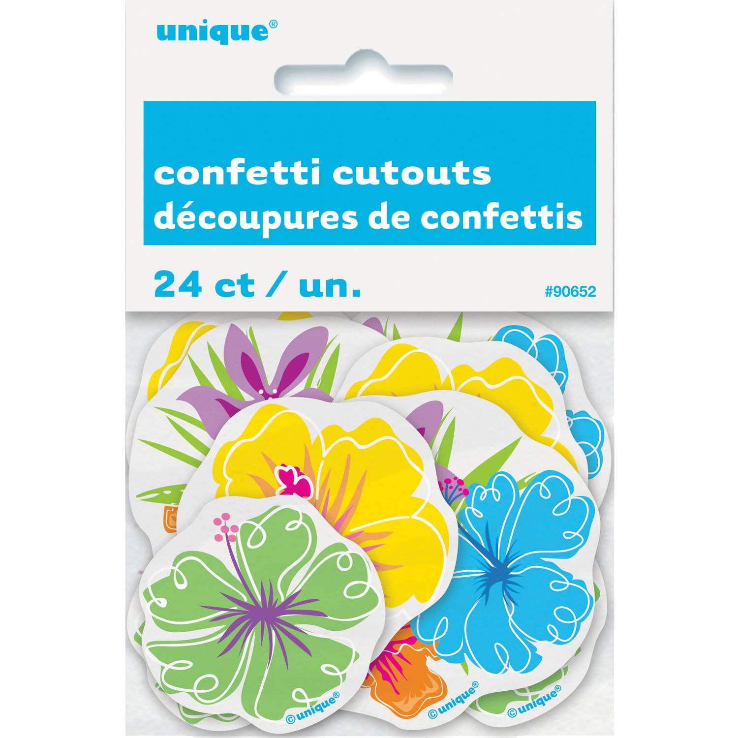 Paper Confetti Cut Out Hibiscus Luau Decorations, 24ct
