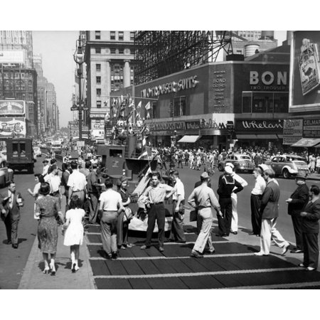 - 1940s Wwii Wartime Pedestrians Traffic Two Sailors Model Of Navy Ship Recruiting Station Times Square Manhattan New York