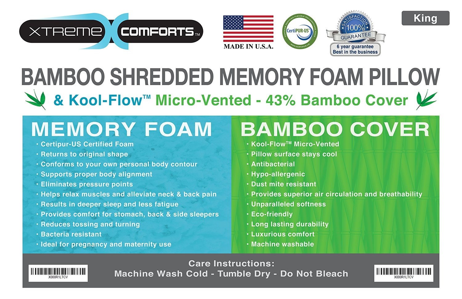xtreme comforts shredded memory foam pillow with kool flow bamboo cover machine washable walmartcom