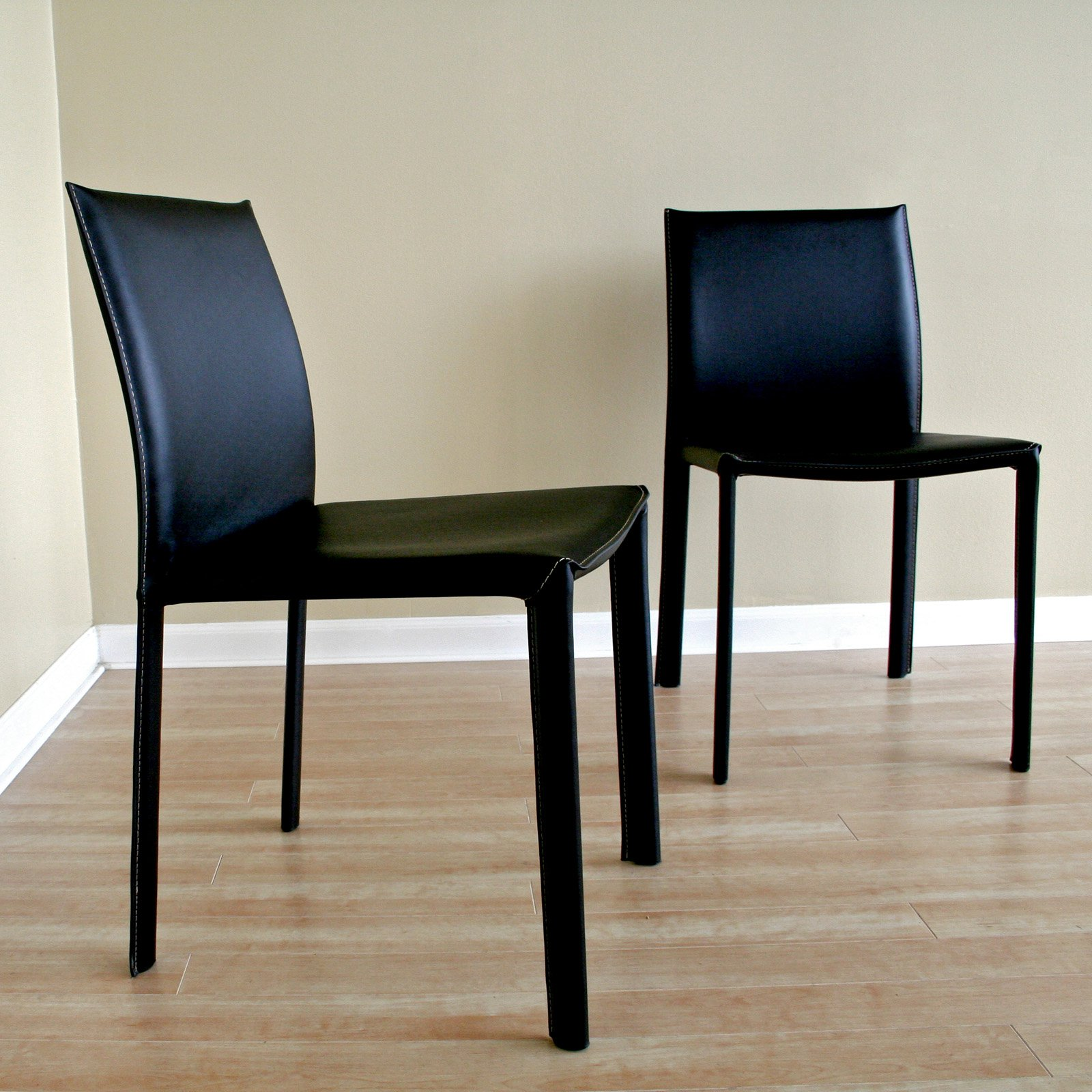 Black Burridge Leather Dining Chair (Set of 2)