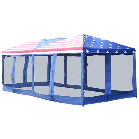 Flag Canopy (Outsunny 10' x 20' Pop Up Party Tent Gazebo Wedding Canopy with Removable Mesh Sidewalls - American Flag Print )