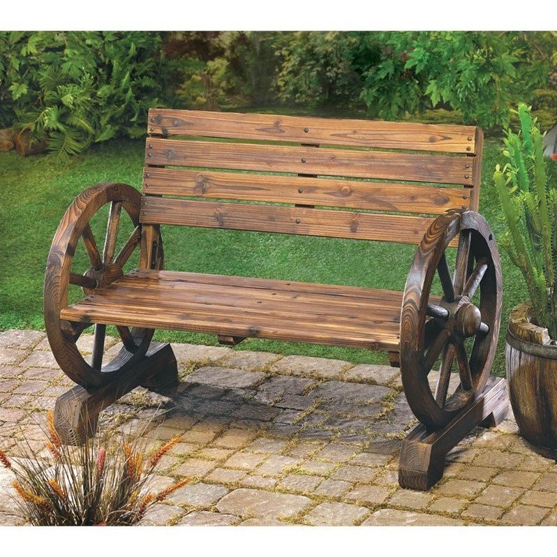 Zingz and Thingz Wagon Wheel Bench
