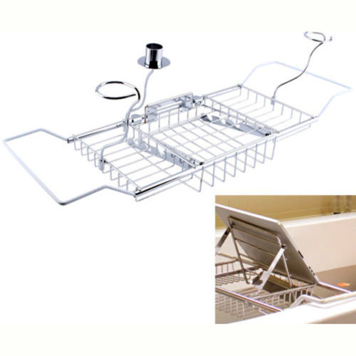 Stainless Steel Bath Caddy Bathtub Reading Stand Rack Adjustable Wine Book Holder Tray by
