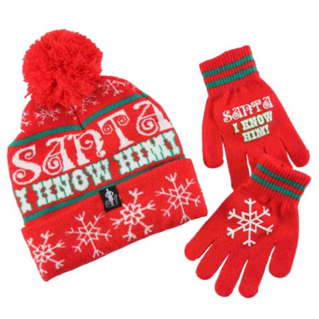deb9447095b Elf Movie Boys Santa I Know Him Red Knit Winter Hat   Gloves Beanie Set -  Walmart.com