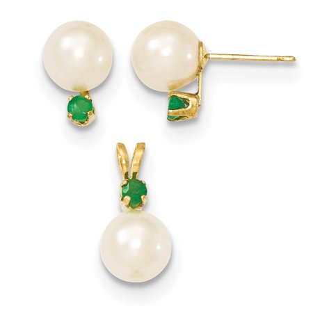14k Yellow Gold 8mm White Freshwater Cultured Pearl Green Emerald Stud Earrings Pendant Charm Necklace Drop Dangle Set / For (Emerald Pendant Set)