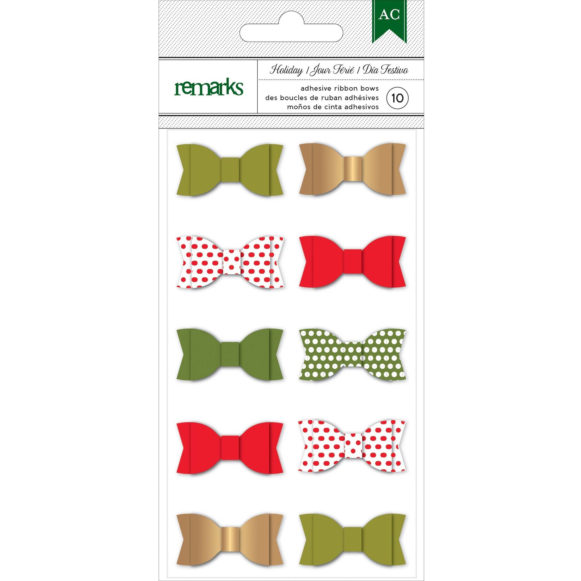 Holiday Remarks Ribbon Bows, 10pk
