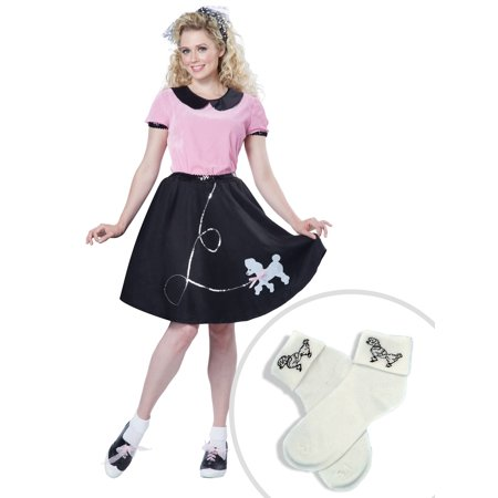 50s Hop with Poodle Skirt Costume for Women and Adult Poodle Socks (50s Socks)
