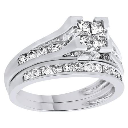 Princess Cut White Natural Diamond Bridal Engagement Wedding Ring Set In 14K Solid White (Princess Cut Diamond Bridal Set 14k White Gold)