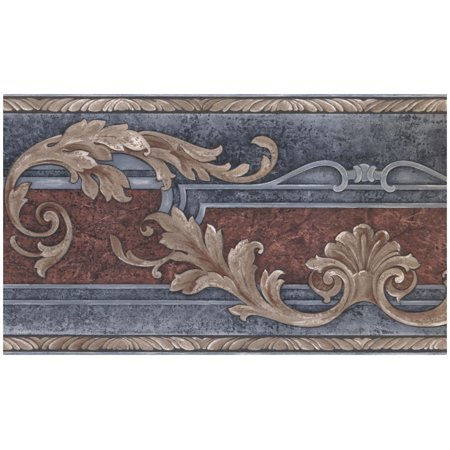 Blue Scroll Wallpaper (Prepasted Wallpaper Border - Abstract Vines Scrolls Amber Aegean Blue Wall Border Retro Design, Roll 15 ft. x 7 in.)