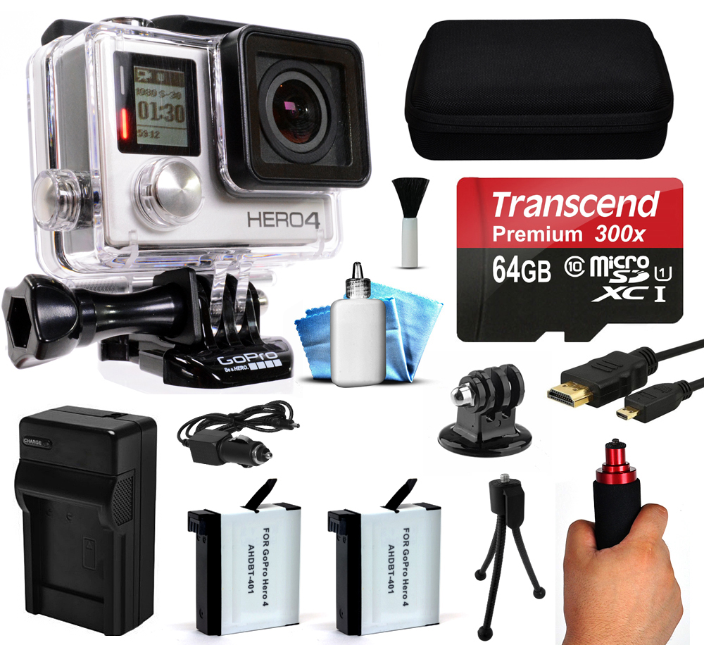 GoPro HERO4 Hero 4 Black Edition 4K Action Camera Camcorder with 64GB Starter Accessory Kit with MicroSD Card, Hand Grip, 2x Batteries, Home and Car Charger, Medium Case, HDMI, Cleaning Kit CHDHX-401