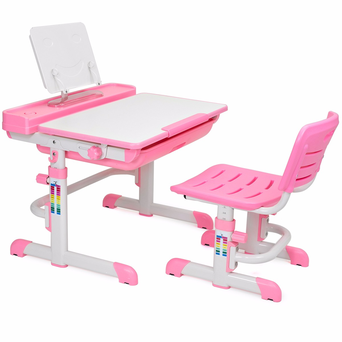 Kids Interactive Work Station Desk & Chair Adjustable Height, Pink by