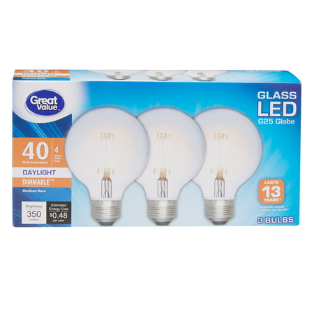 Great Value 40W Equivalent G25 Globe LED Light Bulb, Edison Glass, Dimmable, Daylight, 3-Pack