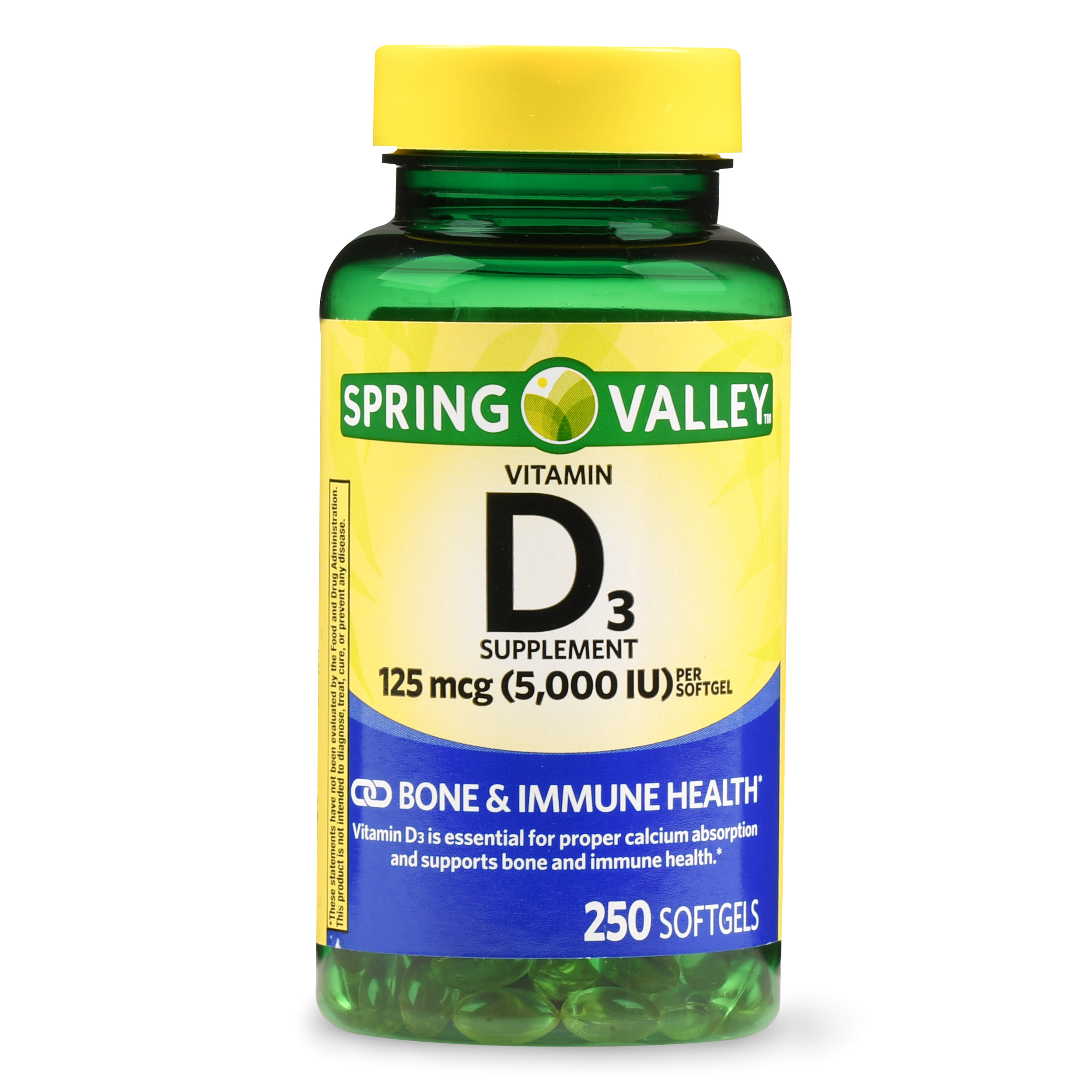 Spring Valley Vitamin D3 Softgels, 5000 IU, 250 Ct