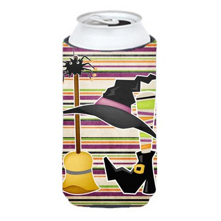 Witch Costume And Broom On Stripes Halloween Tall Boy bottle sleeve Hugger - 22 To 24 oz. (Boy Witch Costume)