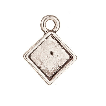 Plain Diamond Shape Bezel Antique-Silver Plated Charm With Mounts, Fit 6x6mm Crystal Or Cabochons 14x11mm Sold per pkg of -