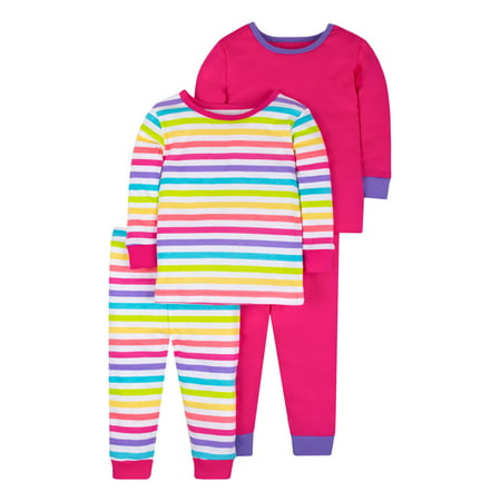 Pure Organic True Brights Tight Fit Pajamas, Sleepwear, Cotton Set, 4 Pc (Baby Girls & Toddler Girls)](Girls Night Out Accessories)