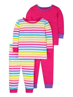 Little Star Organic Baby & Toddler Girl Pure Organic True Brights Snug Fit Cotton Pajamas, 4-Piece Set