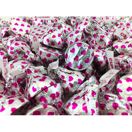 Pink And Silver Hershey Kisses (Hershey's Kisses Cupcake White Cookie, Silver Pink Hearts, Bulk Pack ( Pack of 2)