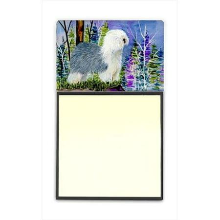 Old English Sheepdog Refiillable Sticky Note Holder or Postit Note Dispenser