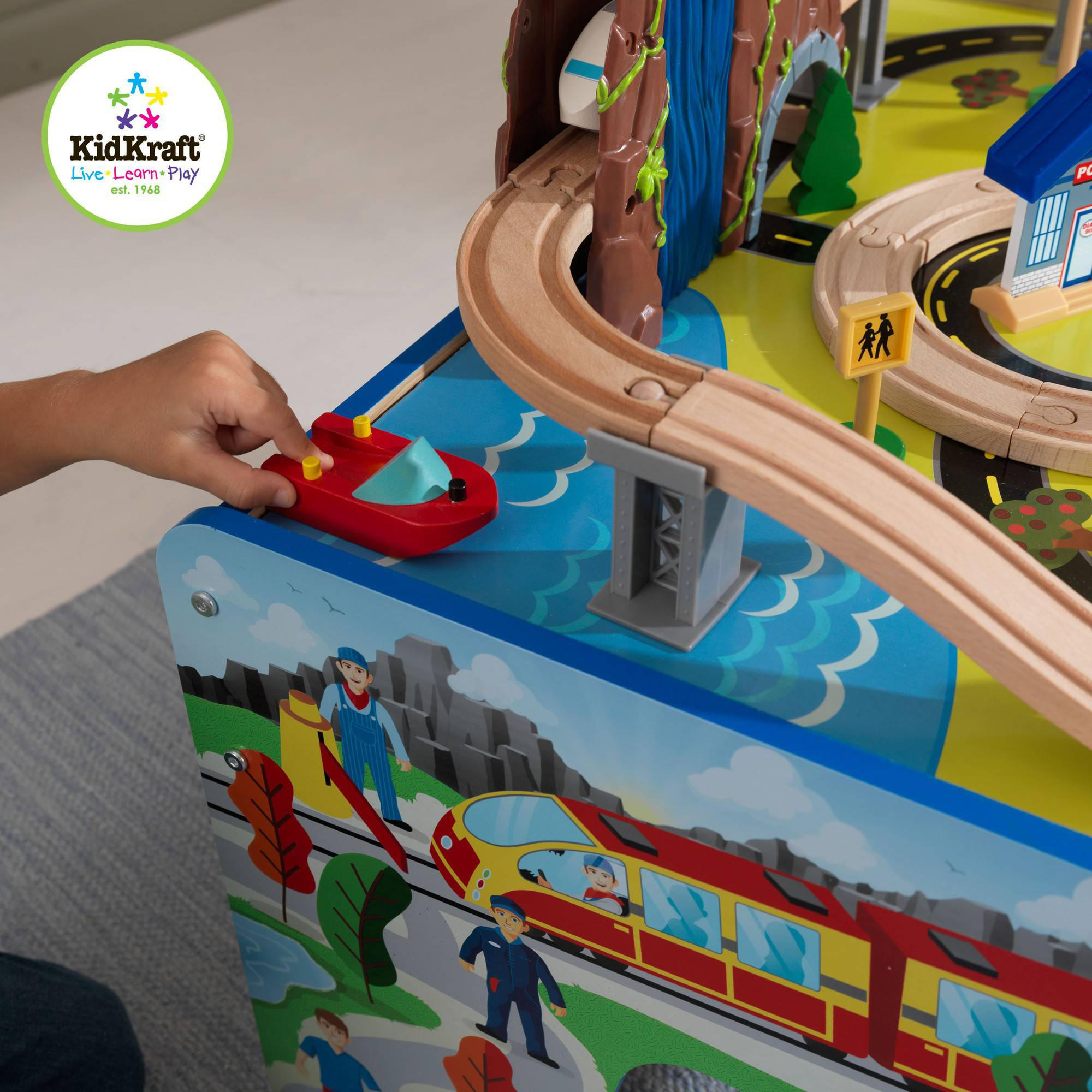 Kids Wooden Table Toy Waterfall Train Play Set 48 Pieces ...