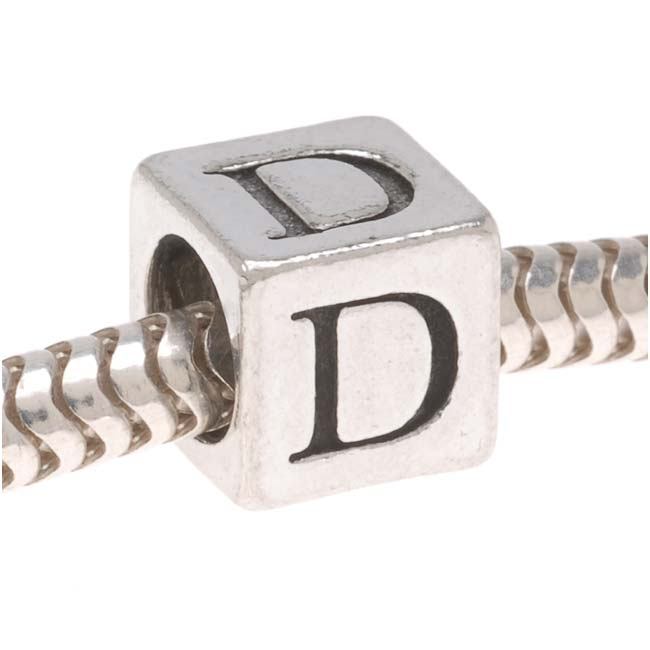 Lead-Free Pewter European Style Large Hole Alphabet Bead, Letter 'D' 6.4mm, 1 Piece, Antiqued Silver