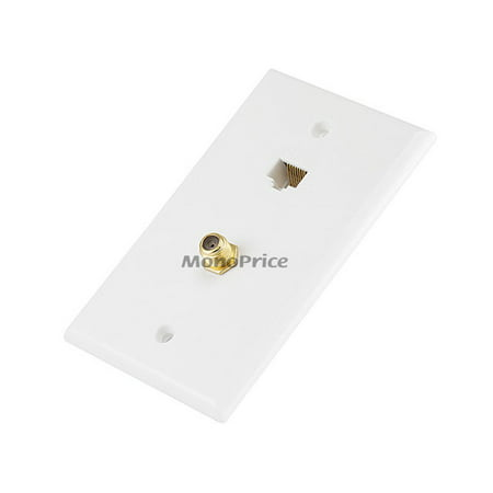 Cat5e / F-Type Wall Plate (Cat5e + F-Type) - Coupler Type (Cat5e Rj 45 Wall Plate)