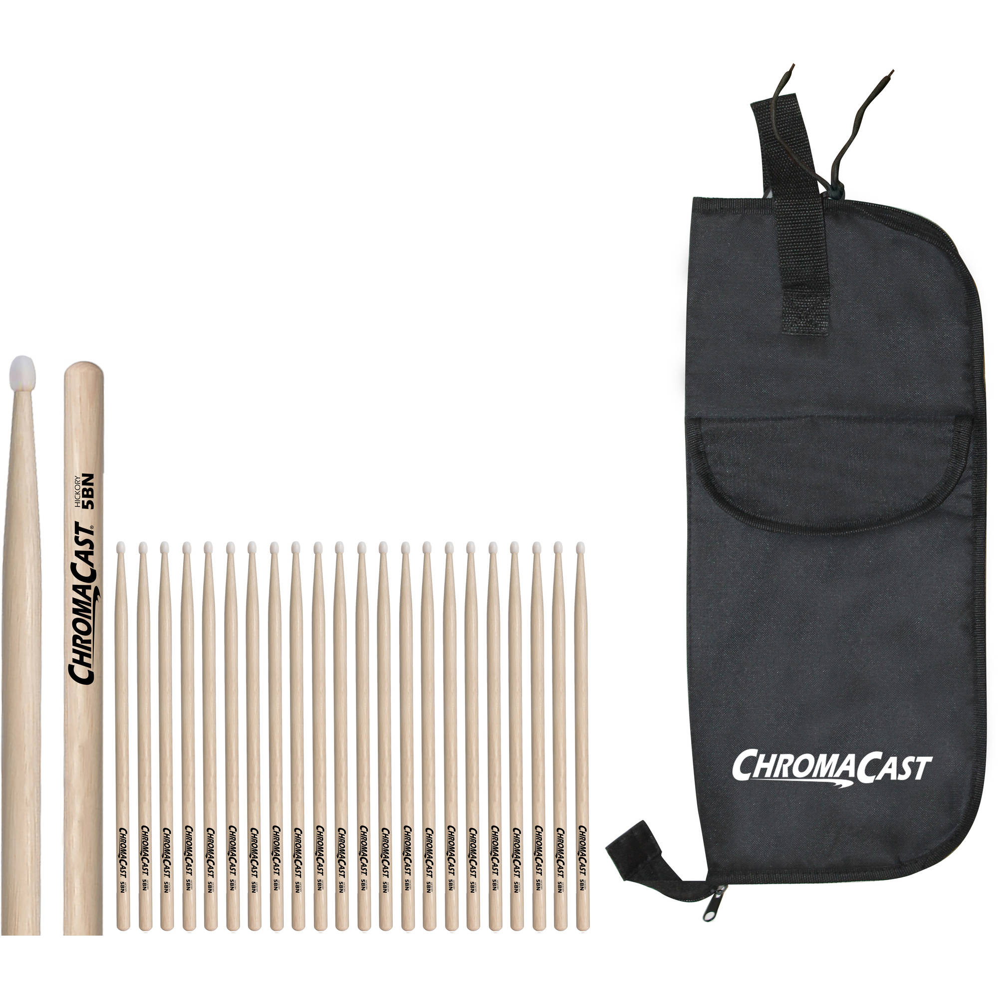 ChromaCast 5B Hickory Nylon-Tipped Drumsticks, 12 Pairs with Drumstick Bag by