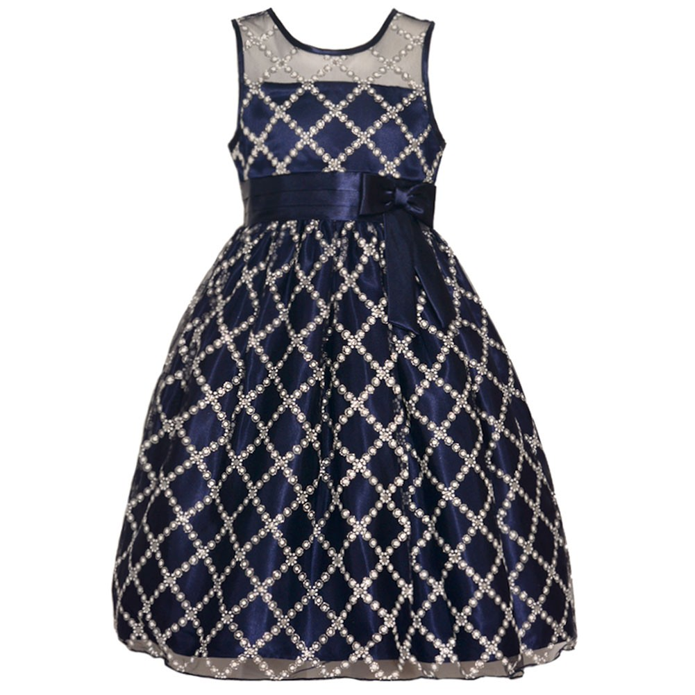 Special Occasions Girls Navy Diamond Bubble Bead Pattern ...