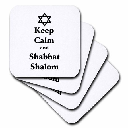 3dRose Image of Keep Calm and Shabbat Shalom - Soft Coasters, set of 8